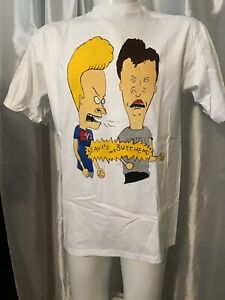 USA-nos-vtg-90-039-s-MTV-Beavis-amp-Butthead-Graphic-T-shirt-Faces-Spell-Out-DEADSTOCK