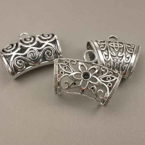 Scarf Jewellery Clip Pendant Hanger Charm Holders Silver Plated, Floral & Swirls