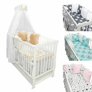 Details zu Babybett Kinderbett weiß Bettset Minky komplett Matratze  Schublade 120x60 Neu