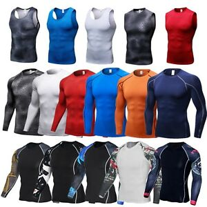 Men-039-s-Compression-Under-Base-Layer-Gym-Armour-Thermal-Shirt-Tank-Tops-Fitness