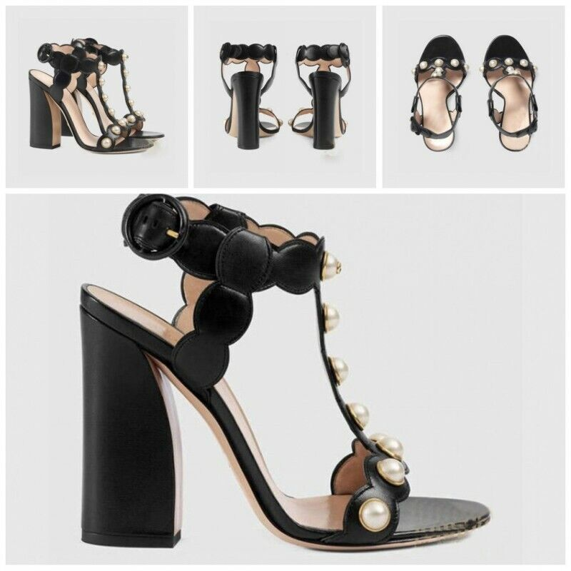 Runway Womens Block High Heel Beads T Strappy Open toe Party Sandals Casual shoe