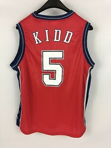 buy popular c744c 2a246 Details about Vintage Kids JASON KIDD #5 New Jersey Nets Red YOUTH Jersey -  Large