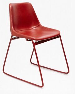 Industrial-Vintage-inspired-Red-Leather-School-Chair-New