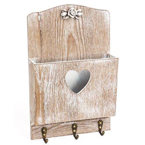 Ablage Schlüsselbrett Garderobe braun Holz mit Herzausschnitt Haken
