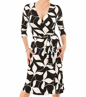 New Black and Ivory Leaf Print Wrap Dress - V Neck - 3/4 Sleeve