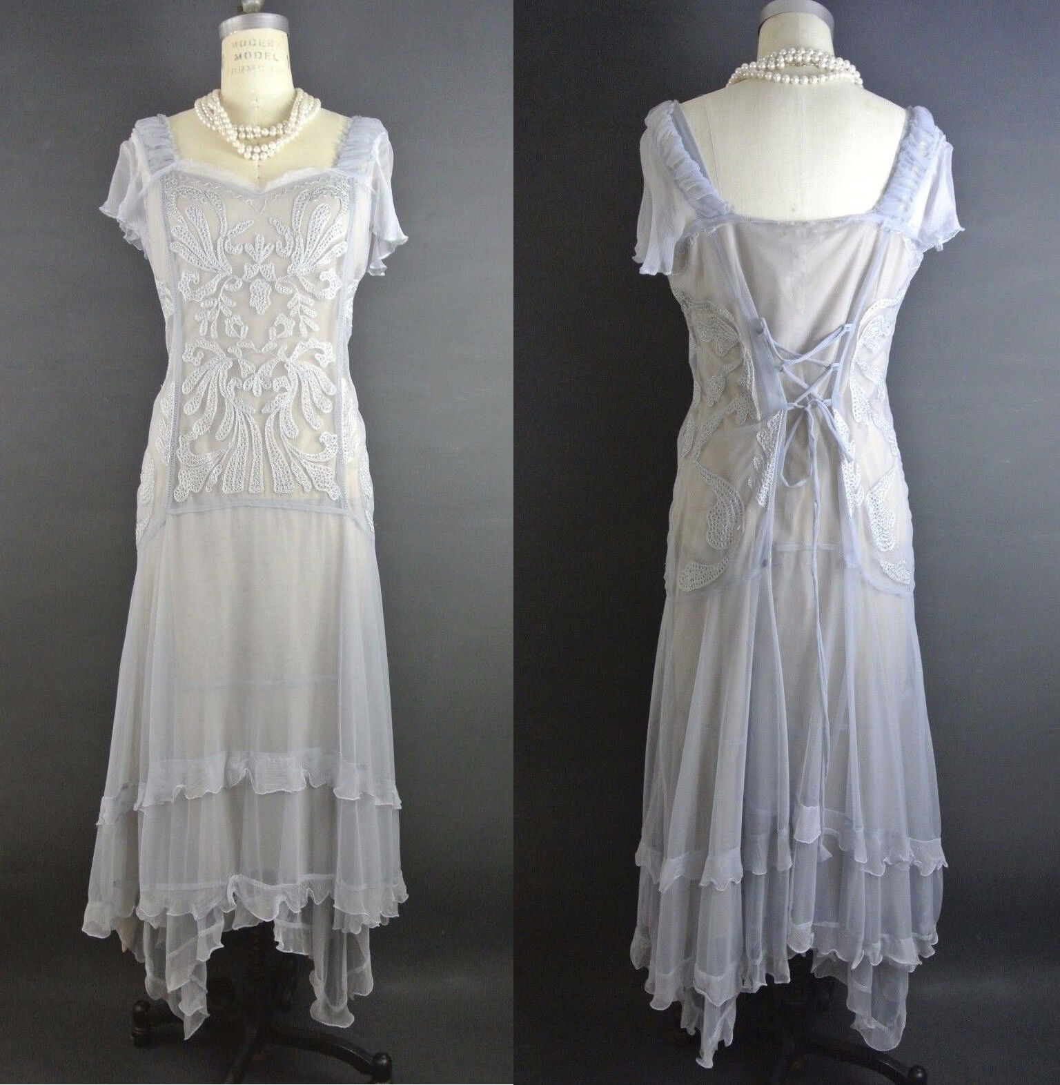 Gatsby Style Dress M Vintage Style Nataya Dress Sale 1920s inspired bluee NWT