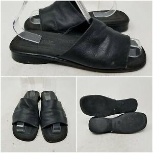 Montego Bay Club Leather Collection Black Slip On Sandal Slides Women Size 8