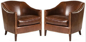 Brilliant Details About Pair Of 2 Madison Leather Club Chairs In Saddle Brown Creativecarmelina Interior Chair Design Creativecarmelinacom