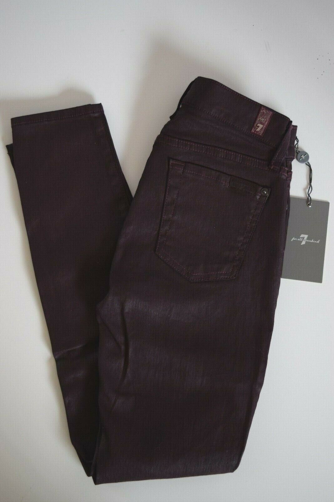NEW Seven 7 For All Mankind THE SKINNY ANKLE Jean Women SZ 24 in BURGUNDY