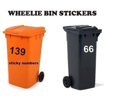 Details about  /2 Wheelie Bin Numbers Stickers Self Adhesive Stick On bin numbers 6 inch bins.,