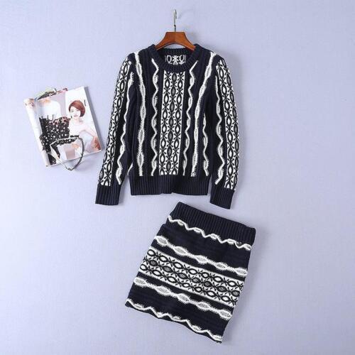 Runway Mini Sleeve Stylish Knitting gonna Long abito autunno girocollo Wave Patterns wB7wT
