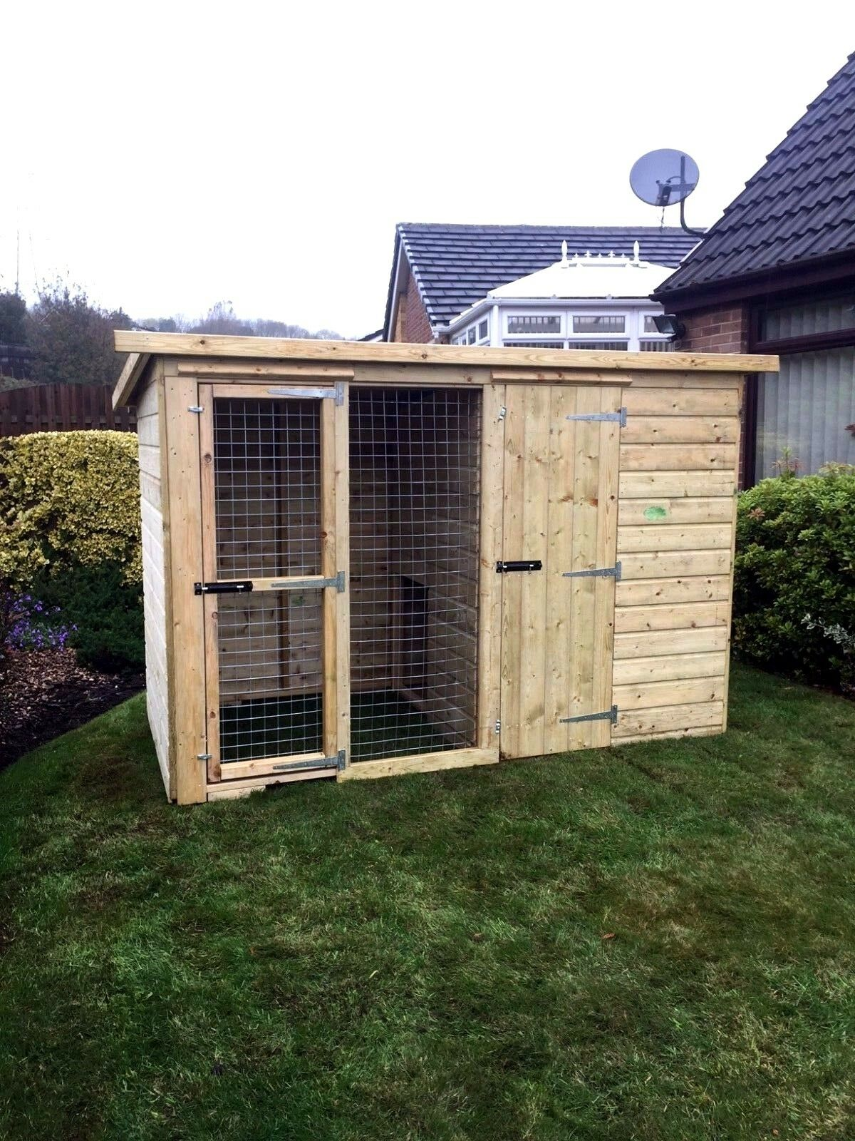 Dog kennel and run 12x4 pressure treated T&G - 5ft 6  Tall - 10 year anti red