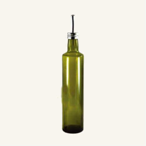 16 or 8 Ounces GHA Green Glass Round Oil Dispenser