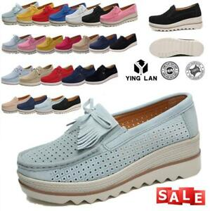 Women-039-s-Slip-On-Shoes-Platform-Breathable-Round-Toe-Comfy-Casual-Loafers-Shoes