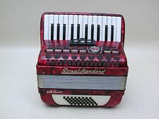 Excellent Red German Piano Accordion Royal Standard Meteor 40 bass with case.