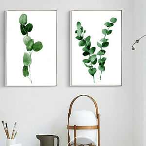Image is loading Watercolor-Plants-Leaves-Canvas-Poster-Minimalist-Wall-Art- & Watercolor Plants Leaves Canvas Poster Minimalist Wall Art Prints ...