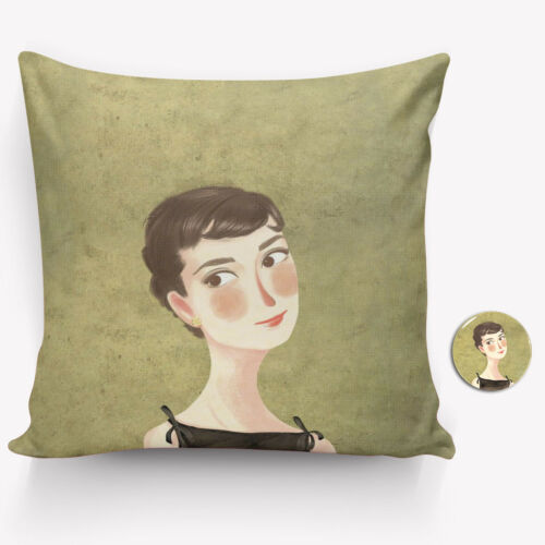 Free Badge Audrey Hepburn Pillow Cover 40//45cm Hand-painted Style Pillow Case