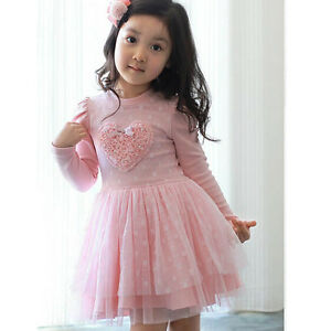 69d8231ac Baby Girls Pink Tutu Dress Autumn Winter Long Sleeve Birthday Party ...