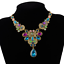 Retro-Bronze-Colorful-Rhinestone-Flower-Choker-Chunky-Collar-Bib-Necklace-Chain thumbnail 4