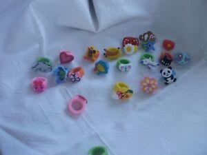 5/10/20/30/100X Cartoon Finger Ring PVC Soft Rubber Kid