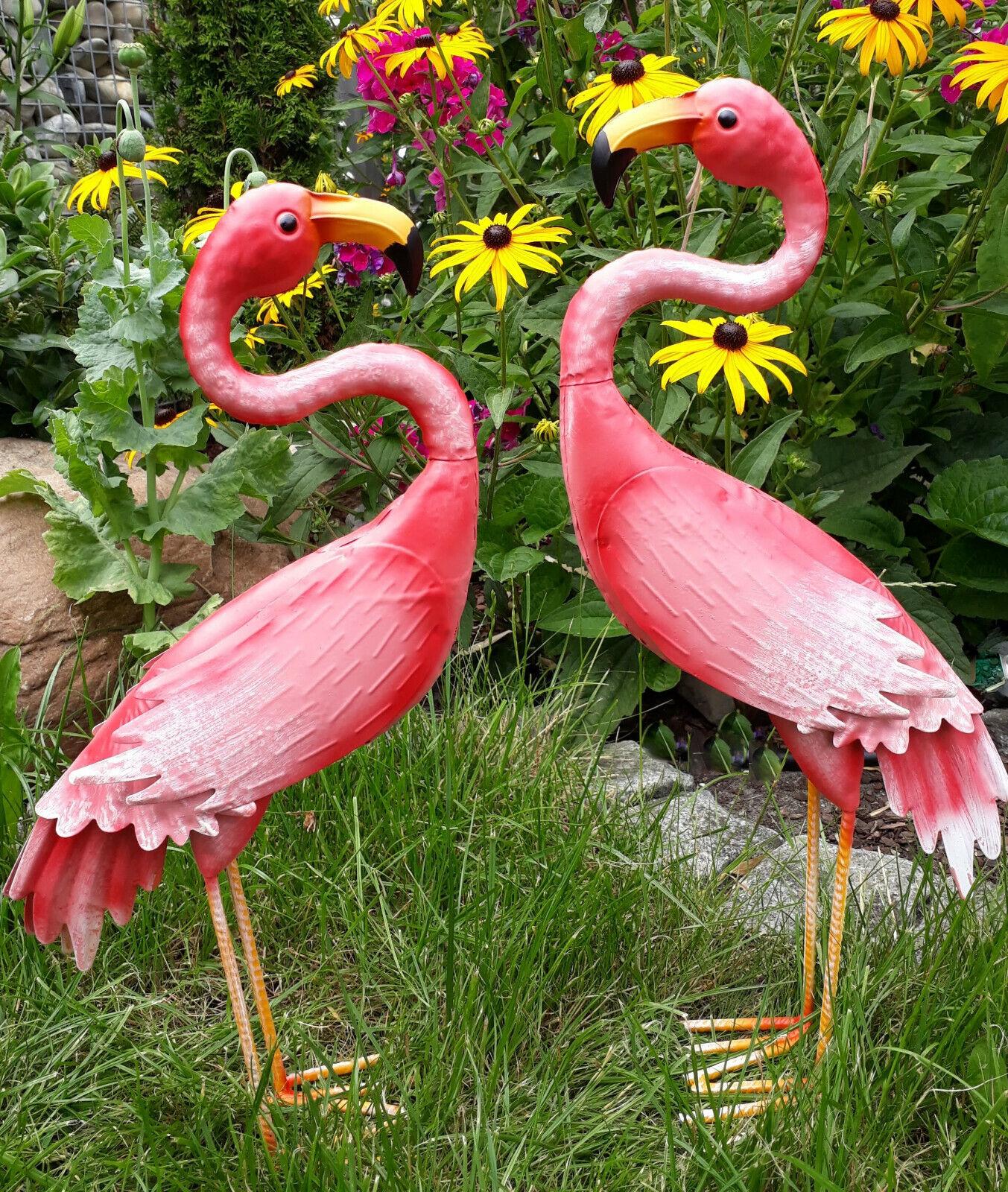 Conjunto de flamenco de figura de jardín figura de metal figura Colorida animal pájaro deco estanque decoración jardín