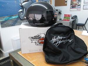 Harley-Davidson-Womens-Retractable-Sun-Shield-Gloss-Black-Half-Helmet-98393-11VW