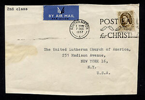 1957 Southampton GB to USA Perfin LEP Top Sheet or Front only