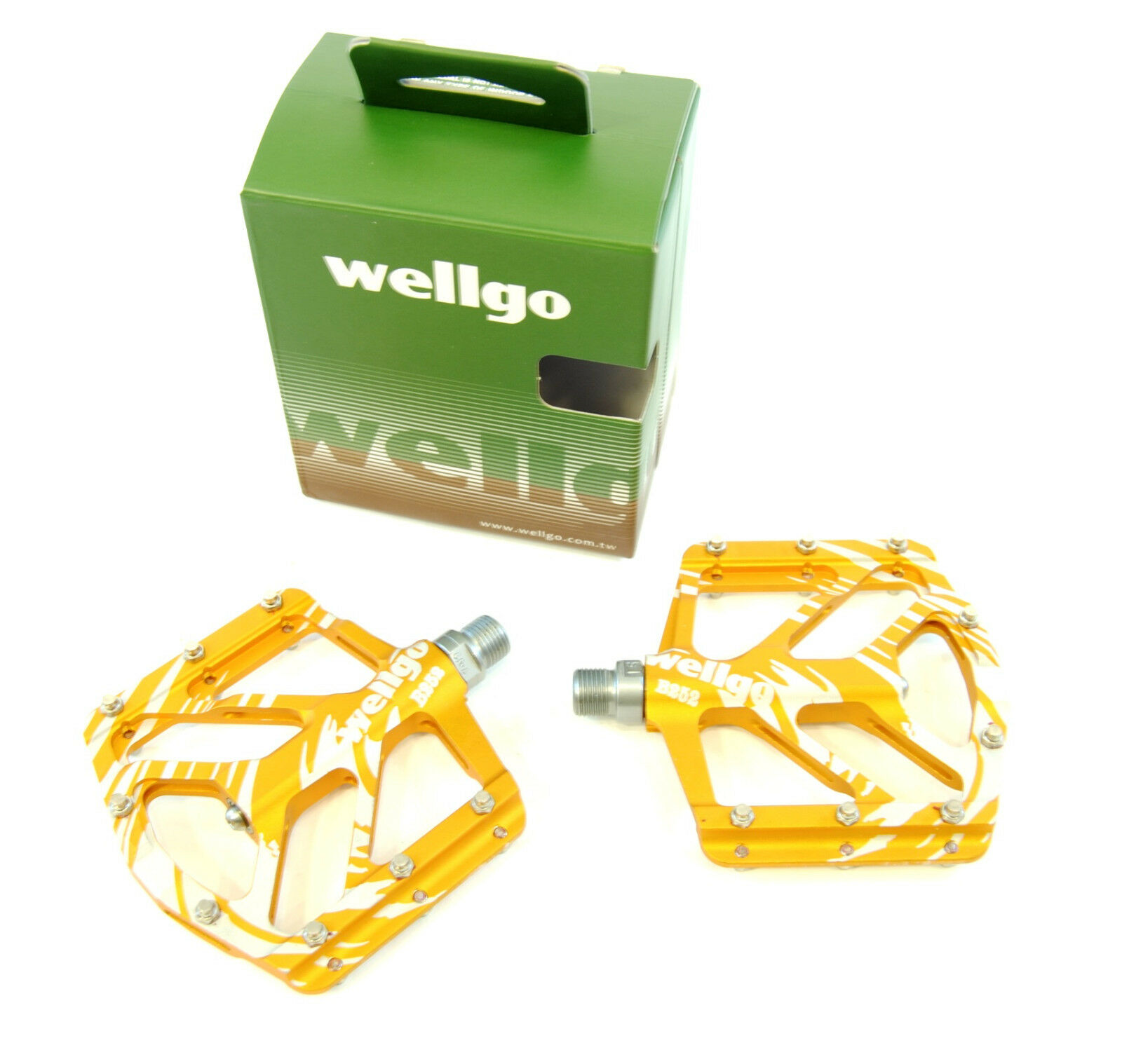 Wellgo B-252 Mag Magnesium Low Profile Mountain Bike Pedals, Yellow gold, 155g