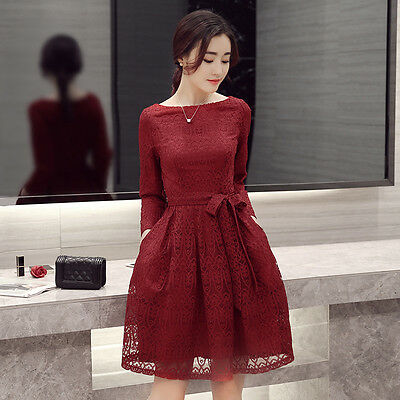 2016 Europe Fashion Autumn Woman Lace Waist Boat Collar Solid Lace A-Line Dress