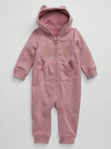 NWT BABY GAP GIRLS LOGO ONE-PIECE ROMPER heathered pink   u pick size