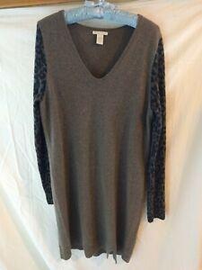 White-Warren-Womens-Leopard-Cashmere-Long-Sleeve-VNeck-Sweater-Dress-Large