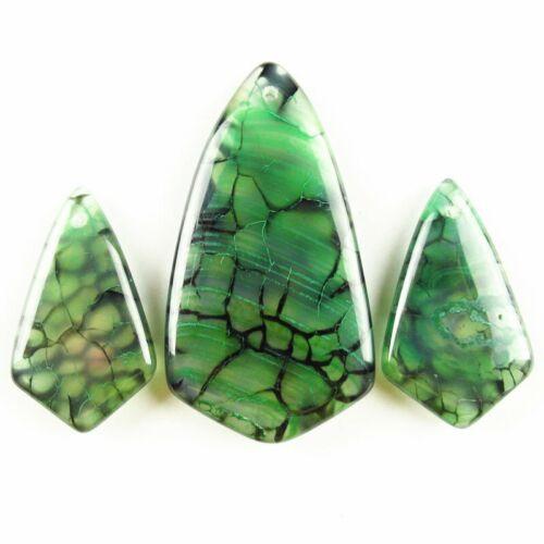 3Pcs 21.6g Green Black Dragon Veins Agate Inverted Triangle Pendant Bead TJ97