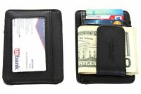 Leather Magnetic Money Clip 3 Credit Card Id Holder Black Men's Wallet