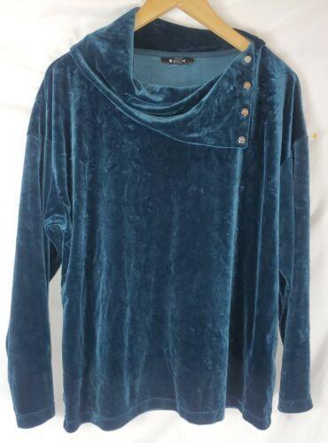 Vintage DKNY Women's Medium Blue Velour Velvet Lon