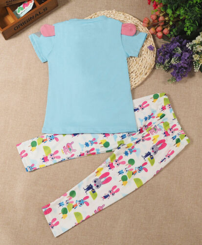 2Pcs Kids Baby Girl Outfit Rabit Shirt T-shirt Tops+Long Pants Jeans Clothes