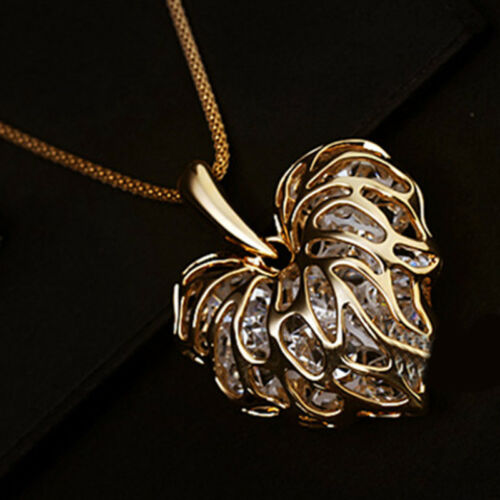 Women Fashion Hollow Leaf Heart Gold Silver Crystal Pendant Long Chain Necklace