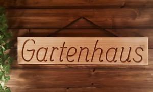 Gartenhaus-massives-Holzschild-Douglasie-58cm-breit-mit-eingefraester-Gravur