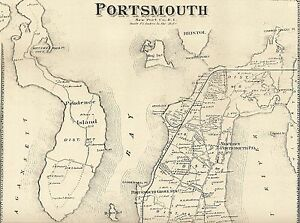Jamestown Portsmouth Prudence Island RI 1870 Maps with Homeowners