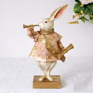 Alice in wonderland White Rabbit Bugler Statue Antique Style Figurine Stand art