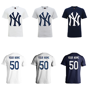 separation shoes a526a a5ebe Details about PERSONSLISED New York Yankees Adult Kids MLB T-Shirt Name  Number Jersey BASEBALL