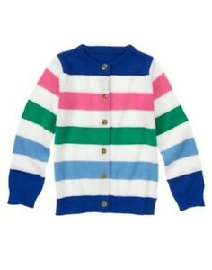 GYMBOREE FLOWER SHOWERS COLORBLOCK CARDIGAN SWEATER 3 5 6 7 8 10 12 NWT