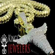 Angel Pendant 10K Yellow Gold Silver Simu Diamond Fully Iced Pave Charm + Chain