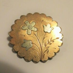 Victorian-Floral-Etching-Brooch-Pin-C-Clasp-Not-Signed