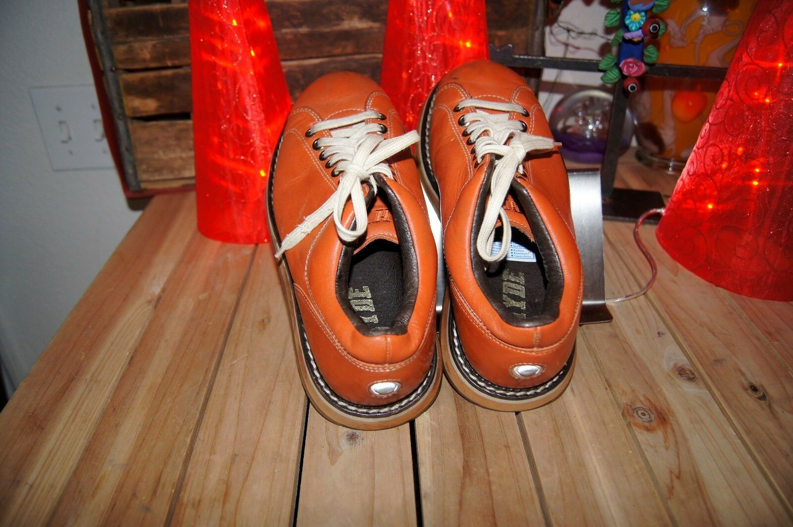 orange LEATHER LEATHER LEATHER HYDE shoes 7.5 8 38 orange OXFORD BOWLING STYLE SHOE 7.5 8 282c2b