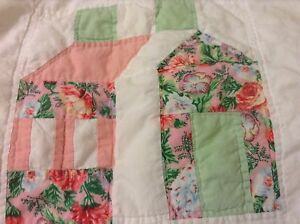 Cottage-Chic-1-Standard-Quilted-Pillow-sham-Patchwork-Floral-White-Pink-Green