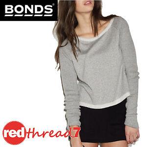 BONDS-Womens-Jumper-Cropped-Long-Sleeve-Top-Crop-Sweater-Grey-Tweed-Texture-Size