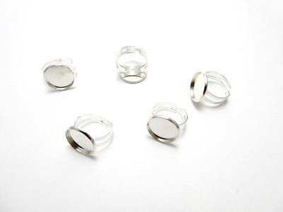 1 silver plated ring blank setting with a 16 mm hollow glass dome adjustable