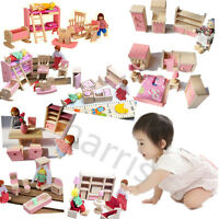 Diy Doll House Miniature Wood Bed Mini Furniture Cosplay Home Set Tableware Toy