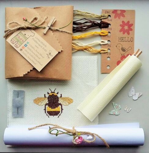 Bee Cross Stitch Kit bricolaje Kit de bordado de insectos diseño moderno Bumblebee Regalo