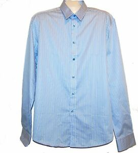 Versace-Collection-Men-039-s-Blue-Stripes-Cotton-Button-Shirt-Sz-18-45-295